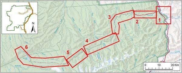 Park road segments map
