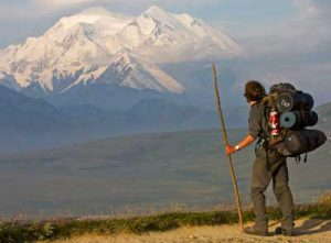 Hiker viewing Denali